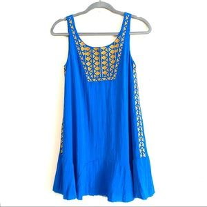 THML bright blue embroidered dress